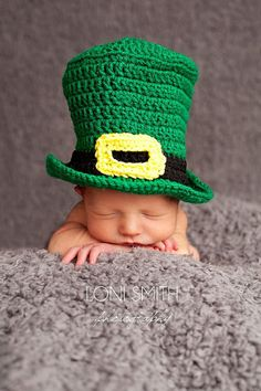 Baby Leprechaun Top Hat Paddy Green - Crochet Newborn Beanie Boy Girl Costume Winter Thanksgiving Photo Prop Cap Christmas Outfit on Etsy, $24.99