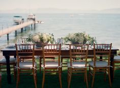 Contemporary Lake Tahoe wedding reception from One Fine Day Events and Bret Cole Photography