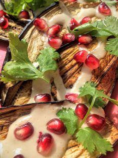 Sült padlizsán tahinivel & gránátalmával Cukor, Tahini, Tacos, Mexican, Beef, Chicken, Ethnic Recipes, Food, Cilantro