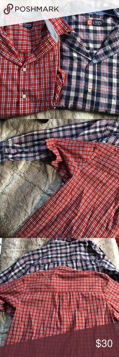 Men's Chaps NWOT 2 Shirt Bundle ♦️ Red Short Sleeve ♦️ Blue Long Sleeve ♦️ Both Button Downs Chaps Shirts Casual Button Down Shirts