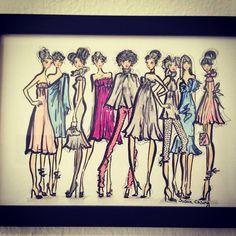 My interpretation of Megan Hess's girls, Illustration  by Susan Chung, Instagram @susanchungfashion, Facebook, https://www.facebook.com/pages/Susan-Chung-Illustrations/331104350407447?ref=hl