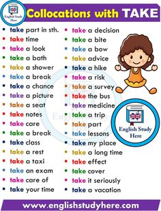 English Collocations with TAKE - English Study Here Learn English Speaking, Learning English For Kids, Kids English, Learn English Grammar, English Vocabulary Words, Learn English Words, Grammar And Vocabulary, English Language Learning, English Study