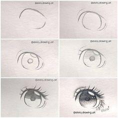 Trendy drawing step by step anime manga eye tutorial 29 Ideas Anime Drawings Sketches, Anime Sketch, Manga Drawing, Manga Art, Pencil Drawings, Eye Drawings, Drawing Art, Drawing Faces, Anime Art