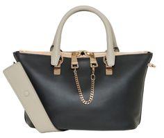Chloe Baylee Mini Calfskin Satchel Bag, Black/Gray w/Golden Hardware #Chloe #Satchel