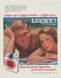 "Description: 1958 LUCKY STRIKE vintage print advertisement ""Light up a Lucky!"" ""When you settle down for a good smoke, why settle for less than a Lucky? Best-tasting cigarette you ever smoked! Product of American Tobacco Company -- ""Tobacco is our middle name"" "" Size: The dimensions of the full-page advertisement are approximately 11 inches x 14 inches (28 cm x 36 cm). Condition: This original vintage advertisement is in Very Good Condition unless otherwise noted."