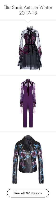 """""""Elie Saab Autumn Winter 2017-18"""" by zoka55 ❤ liked on Polyvore featuring dresses, black, tulle dress, long sleeve dresses, knee length dresses, elie saab dresses, stand collar dress, jumpsuits, purple and jump suit"""