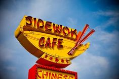 Sidewok Cafe Neon Sign Print Retro Kitchen Decor Denver, Yellow Kitchen Decor Diner Decor, Retro Kitchen Decor, Neon Sign Art, Art Sign, Vintage Neon Signs, Vintage Menu, Food Signs, Sign Printing, Boho