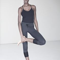 i wear everything lululemon for my yoga life, but this cropped, grey +black, looks cute!