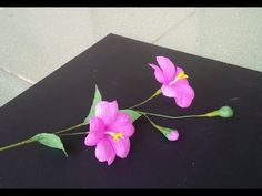 How to make paper flower with crepe paper #3 - Craft tutorial - YouTube