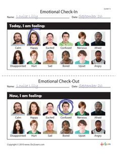 Emotional Check in worksheets. Repinned by SOS Inc. Resources.  Follow all our boards at http://Pinterest.com/sostherapy for therapy resources.