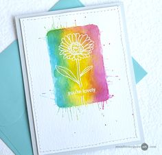Block Watercolor Stamping (w/ video) by Jennifer McGuire — She created the splatters on this card by hitting the acrylic block on the watercolor paper while the ink was still wet.