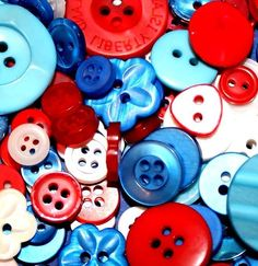 Fancy and Decorative {Assorted Sizes w/ 1, 2, 4 Holes} 100 Pack of 'Flat and Shank' Sewing and Craft Buttons Made of Acrylic Resin w/ Festive Fourth Of July Party Design {Red, White and Blue} *** Read more at the image link.
