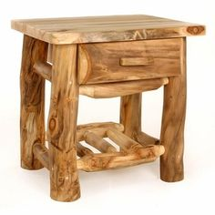 Aspen nightstands are unique in that the logs are full of character and charm. Rustic Aspen furniture is one of our most popular log furniture choices due to the uniqueness found in the aspen logs. Rustic Log Furniture, Driftwood Furniture, Western Furniture, Unique Furniture, Pallet Furniture, Furniture Design, Furniture Stores, Furniture Ideas, Dream Furniture