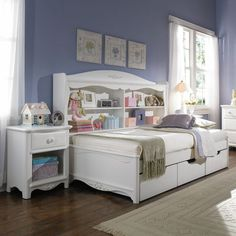 Lea Industries Haley Full Size Platform Bed with Bookcase Unit - Olinde's Furniture - Daybed Baton Rouge and Lafayette, Louisiana Childrens Bedroom Furniture, White Bedroom Furniture, Bedroom Decor, Bedroom Ideas, Wolf Furniture, Hickory Furniture, Willow Furniture, Dream Furniture, Full Size Daybed