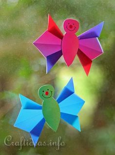 Spring Paper Crafts for Kids - Origami Paper Butterfly