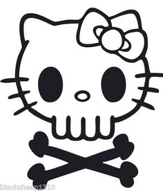 Dead Hello Kitty★Roller Derby Zombie Skull Cross Bones Decal Window Car Sticker | eBay