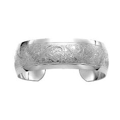 Mother's Day Gift: Sterling Silver Polished Embossed Cuff Bracelet