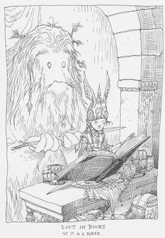 Chris Riddell: Lost in Books Illustrations, Children's Book Illustration, Kid Character, Character Design, Writer Humor, Magic Book, Black And White Illustration, Beautiful Drawings, Wizards