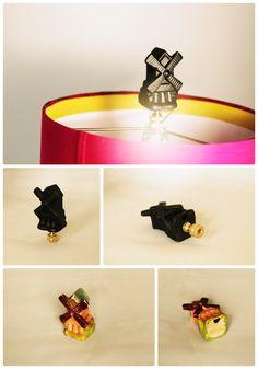 DIY lamp finial made from ceramic dutch windmill figurine | ilikethatlamp.com