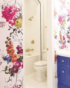 7 Complete Cool Tips: Bathroom Remodel Black Decorating Ideas large bathroom remodel floor plans.Mobile Home Bathroom Remodel Ideas bathroom shower remodel towel bars.Bathroom Remodel Vintage Home Decor. Small Bathroom Wallpaper, Bold Wallpaper, Flower Wallpaper, Wallpaper Designs, Beautiful Wallpaper, Colorful Wallpaper, Wallpaper Ideas, Blue Floral Wallpaper, Happy Wallpaper