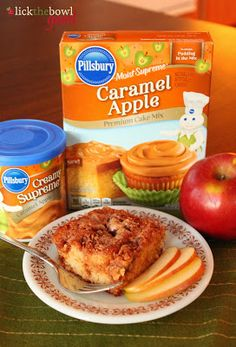 Caramel Apple Fritter Cake using Pillsbury's Caramel Apple Cake Mix and Frosting