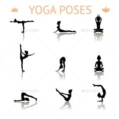 Set of icons of black yoga silhouette poses showing a graceful shapely lady meditatingbendingbalancinglotuspush-ups and doing a ha