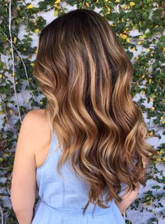 caramel ribbons with chocolte waves balayage for dark brown hair