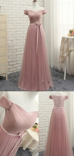 Blush Pink Evening Prom Dress Enticing Long Evening Dresses With Tulle A-line/Princess Lace Up Ruffles Dresses by Miss Zhu Bridal, $149.00 USD