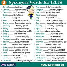 Learning Synonyms words is a basic and very important part of learning English. Here are some of the most useful synonyms words for IELTS. This list of synonyms words will help you expand your English vocabulary. Ielts Writing Task 2, Ielts Reading, Essay Writing Skills, English Writing Skills, Writing Words, English Lessons, Gcse English, English English, Learn English Words
