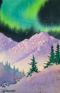 Aurora Winter Painting by Teresa Ascone Watercolor Sky, Watercolor Landscape, Landscape Art, Watercolor Paintings, Winter Painting, Winter Art, Aurora, Alaska, Watercolor Projects