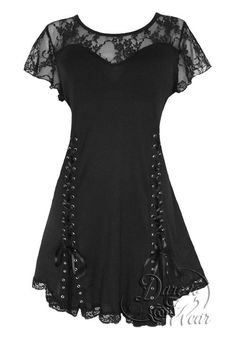 Slimming empire waist silhouette with double grommet lace-ups and spaghetti ties for custom fit     Soft jersey fabric with true sweetheart neckline     Extremely adjustable grommetted corset lace-up     Versatile tunic length can be worn with leggings or jeans