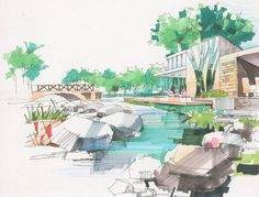 Color landscape design rendering. landscape design plan.