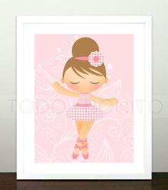 Pink Ballerina for Isabellas big girl room! Ballerina Nursery, Ballet Art, Big Girl Rooms, Kidsroom, Nursery Wall Art, Ideas Para, Wall Art Prints, Little Girls, Room Ideas