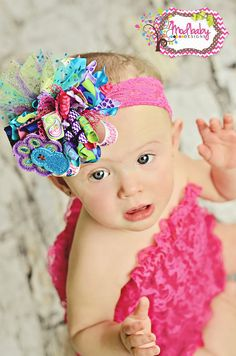 Pretty as a Peacock Funky Loopy Poofy Bow, Polka dot bow, girls hair bows, ott bow, large bow, Paisley Hairbow