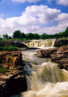 'A Rushing Sioux Falls', The Big Sioux River beautifully cascades in the heart of Sioux Falls, South Dakota; photo by Paul Schiller