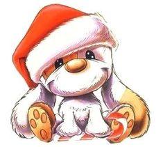 Animated Gif by Dorien Theunissen Cartoon Dog, Cartoon Pics, Cute Cartoon, Christmas Animals, Christmas Dog, Merry Christmas, Baby Animals, Cute Animals, Friends Illustration