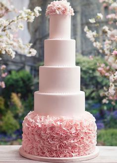 THE 20 PRETTIEST WEDDING CAKES: #11. This five tiered pink cake