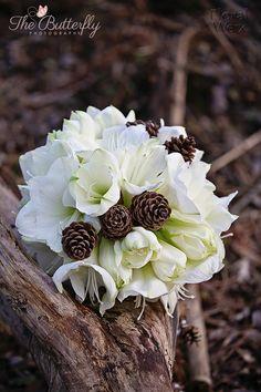 Winter , white bridal bouquet