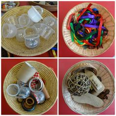 It's a while since I have written about using treasure baskets with babies and children, but it's one of my favourite things to tell parents. Montessori Toddler Rooms, Montessori Activities, Infant Activities, Preschool Activities, Sensory Bags, Baby Sensory, Sensory Play, Baby Play, Baby Toys