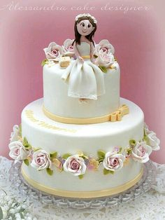 First communion cake Fancy Cakes, Cute Cakes, Fondant Cakes, Cupcake Cakes, Comunion Cakes, First Holy Communion Cake, Religious Cakes, Confirmation Cakes, Christening Cakes