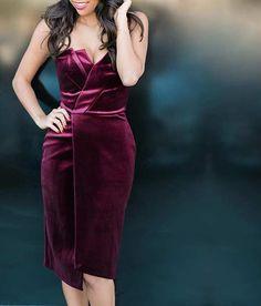 Elegant Burgundy Velvet Dress - New Year's Eve Outfit