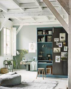 #bedroom in blue #attic