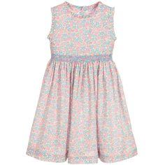 Malvi & Co - Girls Pink & Blue Floral Smocked Dress   Childrensalon