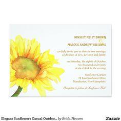 Elegant Sunflowers Casual Outdoor Wedding