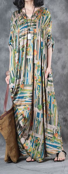 2017 baggy silk dresses plus size draping sundress v neck vintage maxi dress