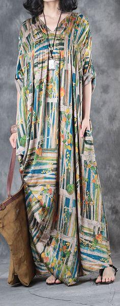 2017  baggy silk dresses plus size draping sundress v neck vintage maxi dress