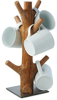 This organic mug tree is made from reclaimed section of mangosteen wood. When th., This organic mug tree is made from reclaimed section of mangosteen wood. When the mangosteen trees of vast Southeast Asian plantations cease to produc. Log Furniture, Reclaimed Wood Furniture, Antique Furniture, Bamboo Crafts, Wood Crafts, Woodworking Crafts, Woodworking Plans, Woodworking Chisels, Mug Tree