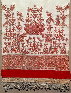 Россия.Конец свадебного полотенца.Фрагмент.1890