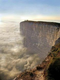 At the world's edge in England. Beachy Head is a chalk headland in Southern England. The cliff there is the highest chalk sea cliff in Britain. Its height has also made it one of the most notorious suicide spots in the world.