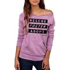 FTLA Apparel Eco Tri-Purple Off the Shoulder Eco Fleece Sweatshirt - Rescue Foster Adopt